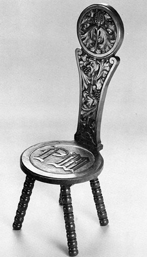 "finely-carved ""Gothic"" stool"